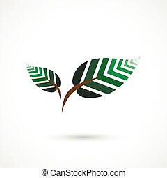 Geometrical leaves - Vector illustration of colorful...