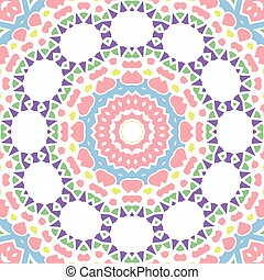 Geometrical seamless color flowers circles pattern