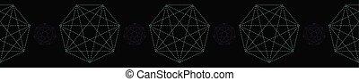 Geometrical symbol shape. Seamless repeating vector border