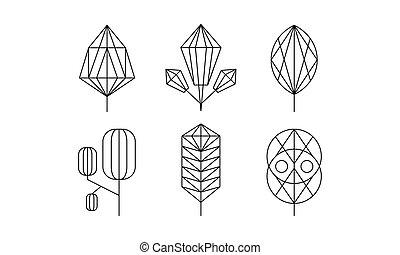 Geometrical trees and leaves set, monochrome polygonal...