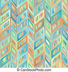 Geometrical Universal Abstract Delicate Seamless Pattern of Gradient Beige, Brown, Blue, Green Parallelograms.