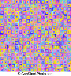 Geometrical Universal Abstract Pastel Gradient Seamless Pattern of Squares of Blue, Lilac, Pink, Violet, Yellow Colors.