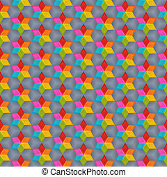 Geometrical Universal Abstract Seamless Pattern of Bright Blue, Green, Orange, Red, Pink, Yellow Rhombuses.