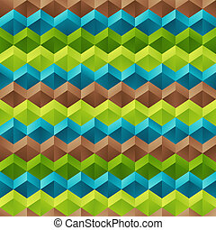 Geometrical Universal Abstract Symmetric Seamless Pattern of Blue, Brown, Green Rhombuses.