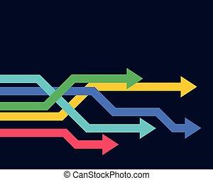 geometrico, avanti, colorito, frecce, spostamento