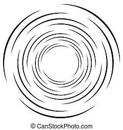 geometrico, elemento, lines., monocromatico, spirale, circolare, ondulazione, astratto, concentrico