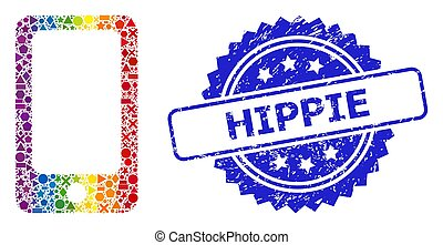 geometrico, gomma, arcobaleno, smartphone, collage, hippie, francobollo