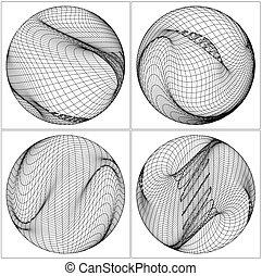 geometrico, wireframe, forma, vec...