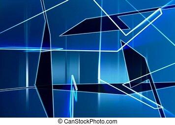 geometrisch, blaues, durchsichtig
