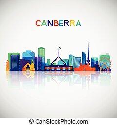 geometrisch, canberra, style., silhouette, skyline, ...
