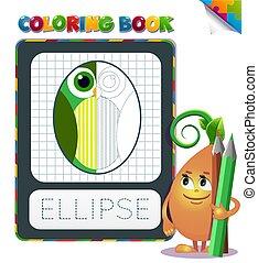 geometrisch, farbton- buch, form, ellipse