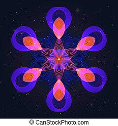 geometrisch, flamy, gas, warme, symbool, op, starry, sky.