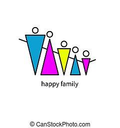 geometrisch, gelukkige familie, pictogram