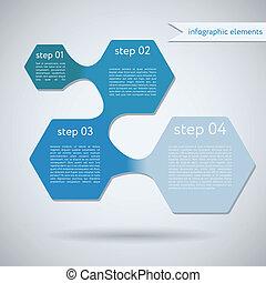 geometrisch, infographic, vorm, zeshoek