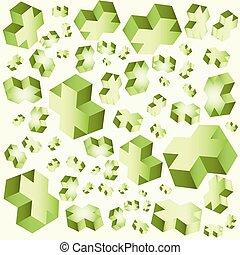 geometrisch, kubus, achtergrond, kruisen