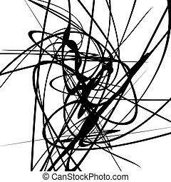 geometrisch, lines., monochrom, dynamisch, curvy, linien, abbildung, schnörkel, kunst