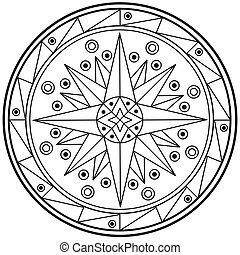 geometrisch, mandala, tekening, heilig, cirkel