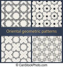 geometrisch, oosters, set, motieven, seamless