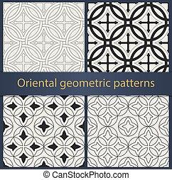 geometrisch, oosters, set, patterns., seamless