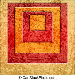 geometrisch, pleinen, grunge, achtergrond, kleurrijke