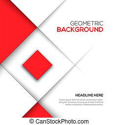 geometrisch, rode achtergrond, 3d