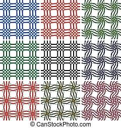 geometrisch, seamless, muster, set.