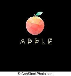 geometrisch, vector, symbool, appel