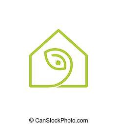 geometrisch, vektor, linie, blatt, logo, einfache , daheim, ...