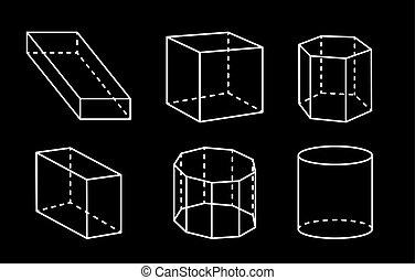 vektor cuboid satz dreieckig pyramide plakat grundwortschatz freigestellt kugelf rmig. Black Bedroom Furniture Sets. Home Design Ideas