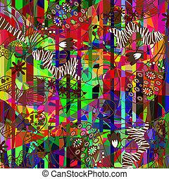 geometrisk, färgrik, blommig, bakgrund, vektor
