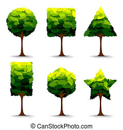 geometrisk form, träd