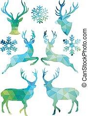 geometrisk, jul, vektor, hjort
