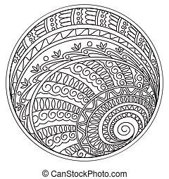 geometrisk, mandalas, cirkel, formerna