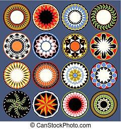 geometrisk, sätta, skyddar, färgrik, utsirad