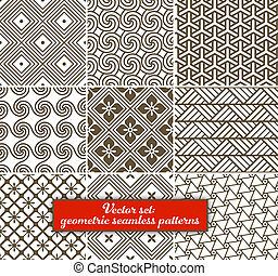 geometrisk, seamless, set:, 9, vektor, patterns.