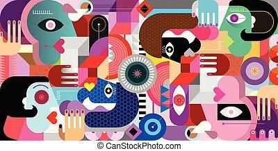 geometrisk, stil, grupp, abstrakt, folk
