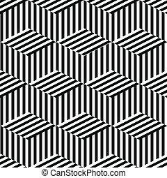 geometrisk, svart, vit, seamless