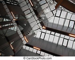 geometriske, abstrakt, arkitektur, loft, i, moderne, det, firma, korporativt kontor, bygning