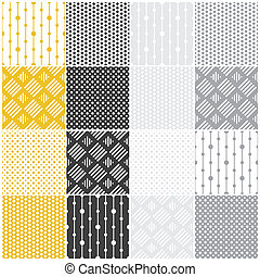 geometriske, seamless, patterns:, prikker, kvadraterer