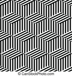 geometriske, sort, hvid, seamless