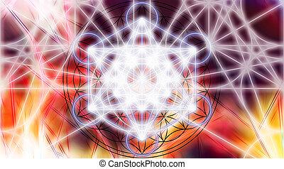 geometry., 色, ライト, 抽象的, merkaba, バックグラウンド。, 神聖