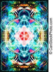 geometry., 色, 抽象的, merkaba, バックグラウンド。, 神聖