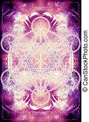 geometry., 色, 抽象的, merkaba, バックグラウンド。, 神聖, mandala