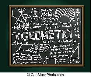 The illustration of beautiful scientific background with chalk handwriting. Geometric class blackboard. Totally vector fully scalable image with white handwritten text.