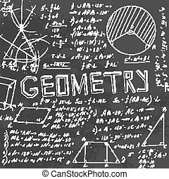 The illustration of beautiful black scientific background with chalk handwriting. Geometric class blackboard. Totally vector fully scalable image with white handwritten text.