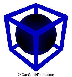 Simple geometry of a sphere inside of a box.
