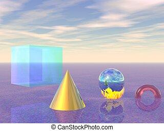 Computer Generated Image based on Geometric Shapes