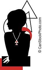 Geometry contemorary trendy graphic silhouette illustration.