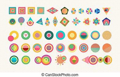 Geometry element set shape colorful icon symbol