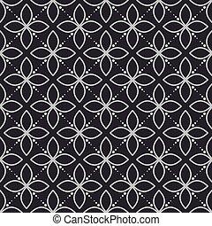 Geometry flower dark seamless vector pattern.